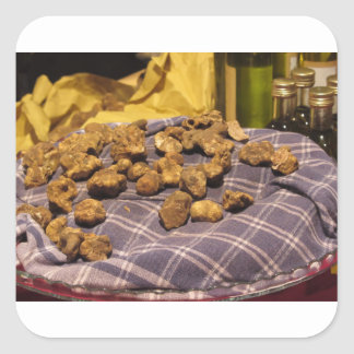 Group of italian expensive white truffles square sticker