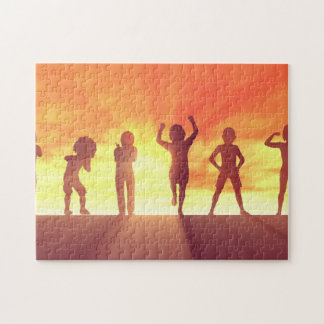 Group of Kids Having Fun as a Abstract Background Jigsaw Puzzle