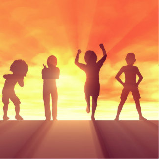 Group of Kids Having Fun as a Abstract Background Photo Sculpture Decoration