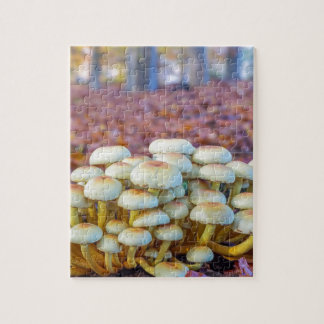 Group of mushrooms in fall beech forest jigsaw puzzle