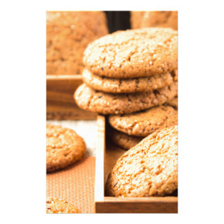 Group of oatmeal cookies on the wooden tray stationery