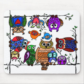 Group of Owls Mouse Pad
