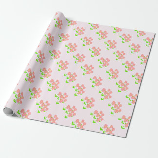 Group of pink flowers on pink wrapping paper