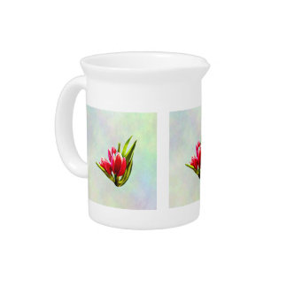 Group of Red Tulips Pitcher
