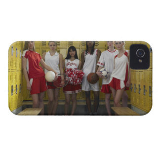 Group of teenage girls (15-17) standing in iPhone 4 cover