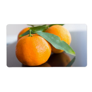 Group of the fresh tangerines shipping label