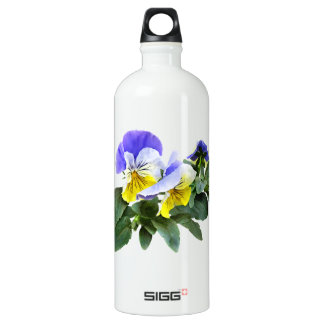 Group Of Yellow And Purple Pansies Water Bottle