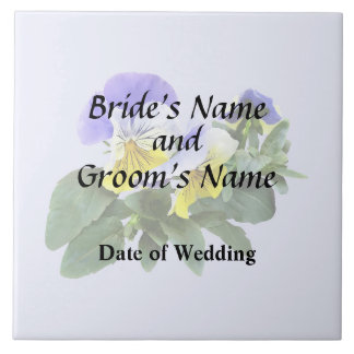 Group Of Yellow And Purple Pansies Wedding Product Ceramic Tile