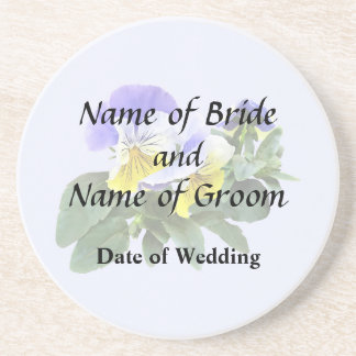 Group Of Yellow And Purple Pansies Wedding Product Coaster
