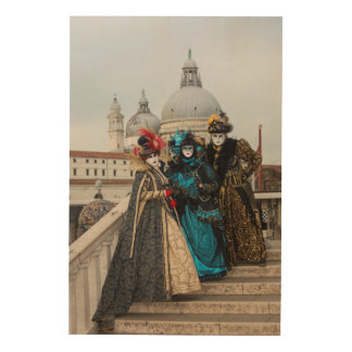 Group On Bridge At Carnival, Venice Wood Print