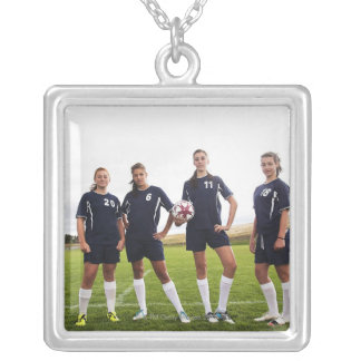 group portait of teen girl soccer players square pendant necklace