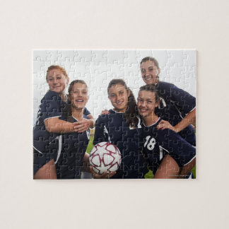 group portrait of teen girl soccer players puzzle