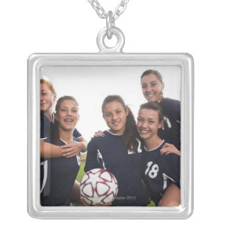 group portrait of teen girl soccer players square pendant necklace