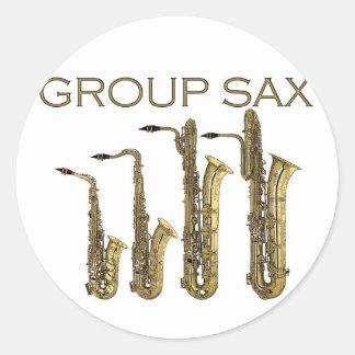 Group Sax Classic Round Sticker