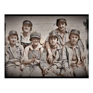 Group Shipyard Workers on Wharf Postcard