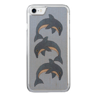 Group Sparkling Blue Adorable Jumping Dolphins Carved iPhone 8/7 Case