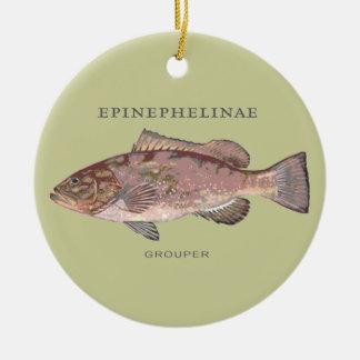 Grouper Fish Illustration Round Ceramic Decoration