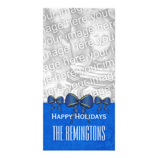 GROUPON Blue Bows Merry Christmas V7 Personalized Photo Card