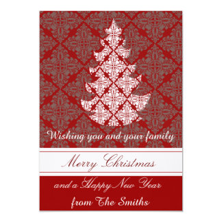 Groupon Classic Damask Christmas Tree Card