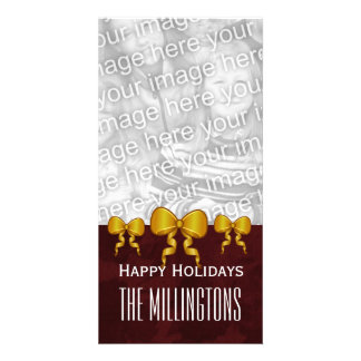 GROUPON Gold Bows and Maroon Merry Christmas V10 Customised Photo Card