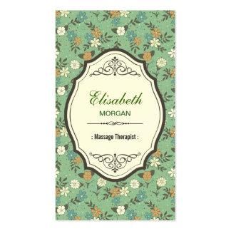 Groupon - Massage Therapist Elegant Vintage Floral Business Card Template