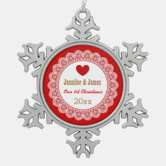 GROUPON Our First Christmas Red and White Lace G01 Ornament