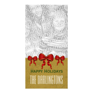 GROUPON Red Bows and Gold Merry Christmas V11 Photo Greeting Card