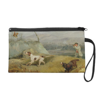 Grouse Shooting (oil on canvas) Wristlet Clutch
