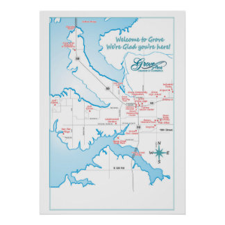 Grove OK attractions map Poster