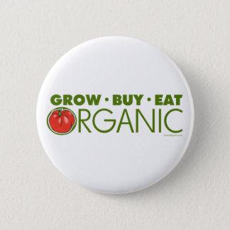 Grow, Buy, Eat Organic 6 Cm Round Badge