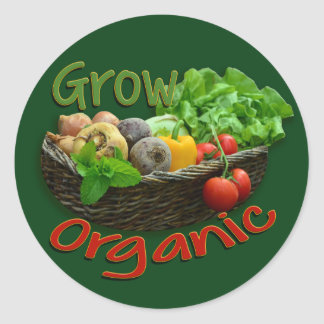 Grow Organic ~ farming logo Round Sticker