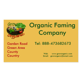 Grow Organic ~ Organic farming logo Pack Of Standard Business Cards