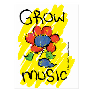 Grow Some Music. Cool Musical Flower Design Postcard