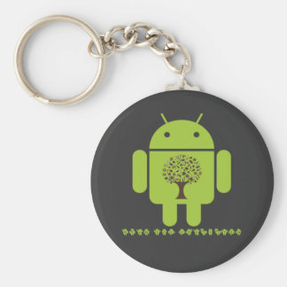Grow The Ecosystem (Bug Droid Brown Tree) Basic Round Button Key Ring