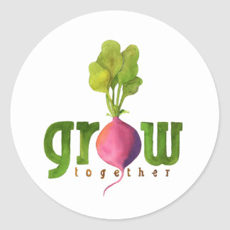 Grow Together Radish Classic Round Sticker