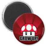 Grow Up Red Mushroom Powerup Refrigerator Magnets