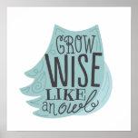 Grow Wise Like an Owl - Children's Art Poster