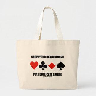 Grow Your Brain Strong Play Duplicate Bridge Jumbo Tote Bag
