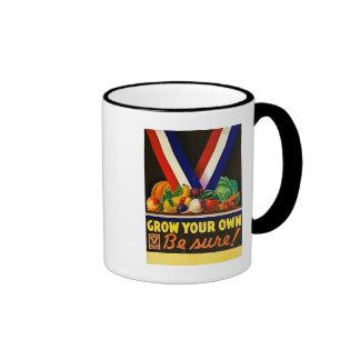 Grow Your Own - Be Sure!  Vintage World War II Ringer Mug