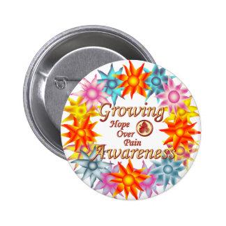 Growing Awareness Hope Over Pain Phoenix Flowers 6 Cm Round Badge