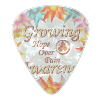 Growing Awareness Hope Over Pain Phoenix Wreath Pearl Celluloid Guitar Pick
