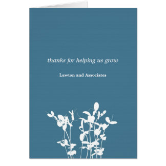 Growing plant blue business modern thank you card