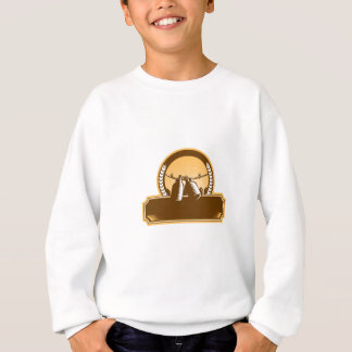 Growler Clothesline Picket Fence Circle Woodcut Sweatshirt