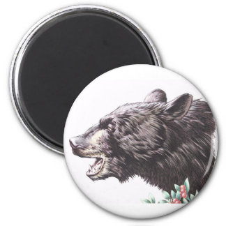 Growling Black Bear with Berries 6 Cm Round Magnet