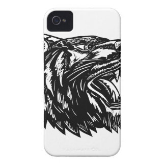 Growling Tiger Woodcut Black and White Case-Mate iPhone 4 Cases