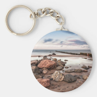 Groyne and stones on the Baltic Sea coast Basic Round Button Key Ring