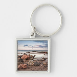 Groyne and stones on the Baltic Sea coast Silver-Colored Square Key Ring