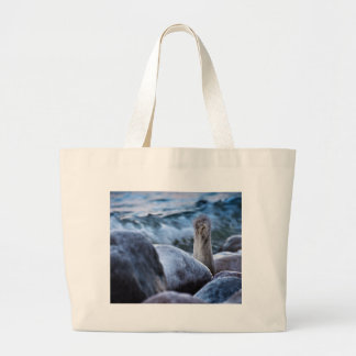 Groyne on shore of the Baltic Sea in winter Tote Bag