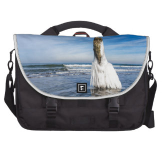 Groyne on shore of the Baltic Sea in winter Laptop Computer Bag