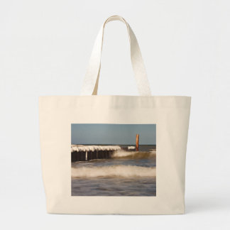 Groynes in winter on shore of the Baltic Sea Tote Bag